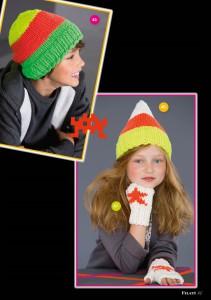 арт 262 (Размер: шапка на мальчика 134-152  Шапка на девочку 110-122    Пряжа: 55м/50г    Количество:    Шапка на мальчика: по 50 г зеленой, оранжевой, желтой пряжи  Шапка на девочку: 100 г белой, по 50 г желтой, оранжевой пряжи )