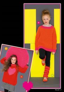 арт 264 (Размер: 128/134, 140/146    Пряжа: 55м/50г    Количество:   Пуловер с сердечком: 500 (550) г красной, 50 г розовой пряжи    Пуловер: 450 (500) г оранжевой, 100 г розовой пряжи )