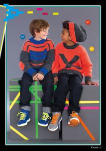 арт 266 (Размер: 134/140, 146/152    Пряжа: 55м/50г    Количество:   Пуловер с полосками: 250 (300) г цвета антрацита, 150 (200) г голубой,  100 г оранжевой пряжи  Пуловер с узором: 350 (400) г оранжевой пряжи, 150 г пряжи цвета антрацит  )