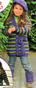арт. 091 (Размер: 110/116 (122/128) 134/140    Пряжа: 90м/50г    Количество: 300 (350) 350 г фиолетовой, по 100 (150) 150 г темно-фиолетовой и зеленой пряжи    7 пуговиц )